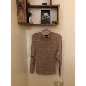 Beige and gold sequin pattern sweater